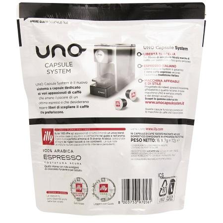 Illycaffe' 16 capsule di caffè tostato macinato - 16 Capsule UNO system caffè tostatura Scura - 7582