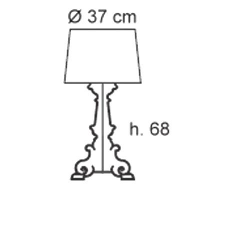 Kartell Lampada da tavolo - Bourgie Ta H.73 3x28w E14 Nero 9070/Q8