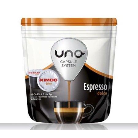 Kimbo 16 capsule di caffè tostato macinato - 16 capsule Uno system Espresso Dolce - 014512