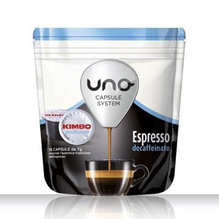 Kimbo 16 capsule di caffè tostato macinato - 16 capsule Uno system Espresso Decaffeinato - 014514
