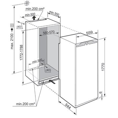 Liebherr Incasso integrabile con cerniere autoportanti - IK 3510-20