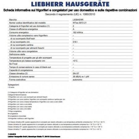 Liebherr Frigo cantina - Wtes 5972-21