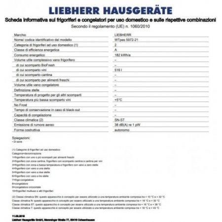 Liebherr Frigo cantina - Wtpes 5972-21