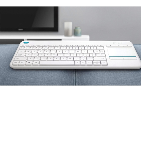 Logitech Tastiera wireless con TouchPad integrato - K400 Plus White 920-007136