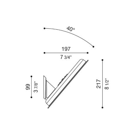 Lombardo Accessorio a palo o parete inclinato 40° per corpo luce AIRY - Nero - Lb11432