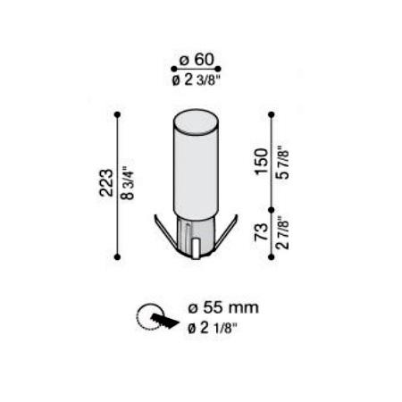 Lombardo Testapalo per palo da 60mm - Line Testapalo LED 6,5W diretto 4K - LL113000N