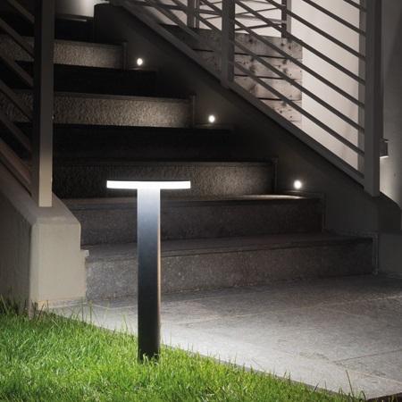 Lombardo Testapalo per palo da 60mm diametro - Line 220 LED 11W 3k Nero - Ll1131003
