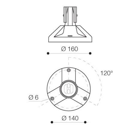 Mareco Luce Basamento per montaggio palo - Mistral Nero