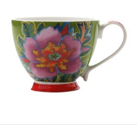 HANOI MUG FLOWER HIBISCUS 400ML GREEN