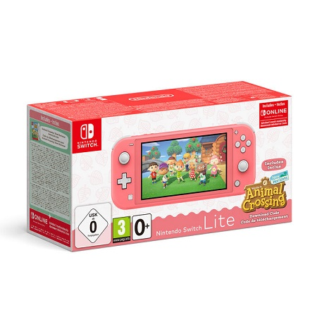 NINTENDO Switch Lite Coral + Animal Crossing New Horizons + NSO 3 months (LIMITED)
