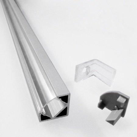 Nobile Profilo in alluminio angolare per striscia LED - Profilo Angolare 2mt schermo Satinato