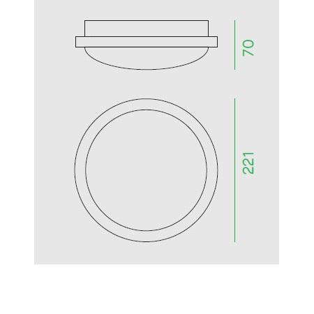 Nobile Plafoniera tonda diametro 22,1cm - Plt22/3k Plafoniera tonda 20W 3K IP65 230v