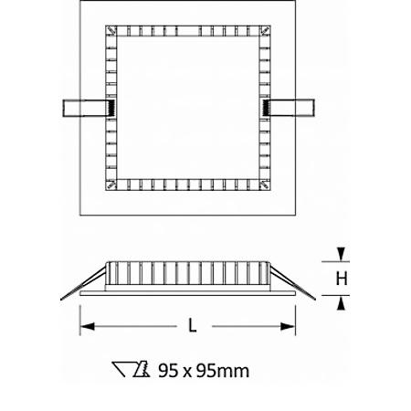 Novalux Faretto da incasso - Slim Quadrato 9w 3000k 220-240v L.110