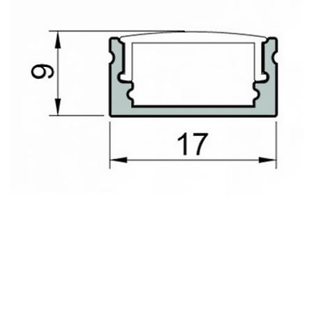 Novalux Profilo dissipante - Profiled Profilo H.9 2m Trasparente