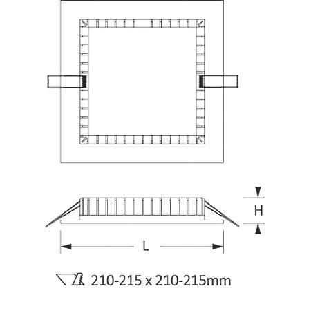 Novalux 11805.01 - Slim 20W 4K - Faretto da incasso   quadrato