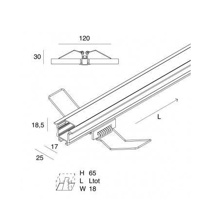 Novalux 105405.96 Profilo da INCASSO per strip LED - Incasso a soffitto o parete
