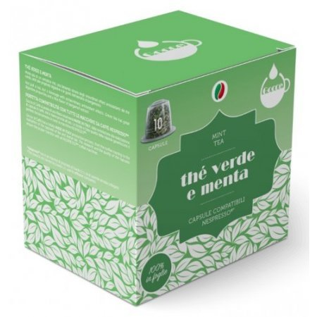 Gocce di Caffè Accessori caffetteria - 10 Capsule Thè Verde e Menta Compatibili Nespresso