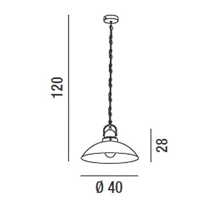 Perenz Lampada a sospensione - Lampada a Sospensione In Metallo Verniciato Nero Anticato