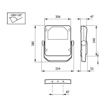 Philips Proiettore LED da esterno - Proiettore LED - BVP110 Tempo Small Simmetrico - 30636000