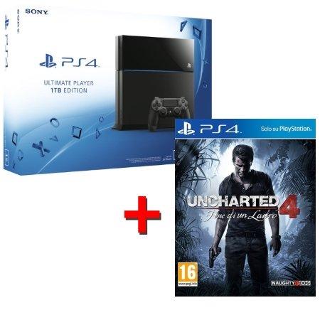 SONY - PS4 1TB B CHASSIS + UNCHARTED 4 FINE DI UN LADRO