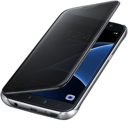 Samsung - Clear View Cover Black Galaxy S7