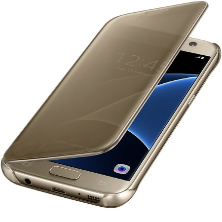 Samsung Clear View Cover - Clear View Cover Gold Galaxy S7