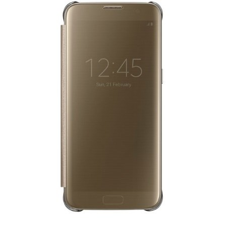 Samsung - Clear View Cover Gold Galaxy S7 Edge