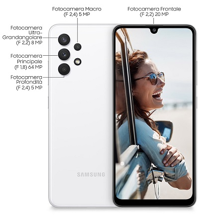 Samsung Quadri Band - 4G-LTE - Wi-Fi - NFC - A-GPS - Samsung A32 White
