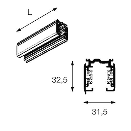 Targetti Binario elettrificato - N55001 Trk Tracks  Modulo 1000