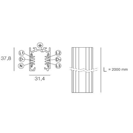 Targetti Binario elettrificato per istallazione faretti o proiettori - Binario 2 mt bianco 9000-2/w-st