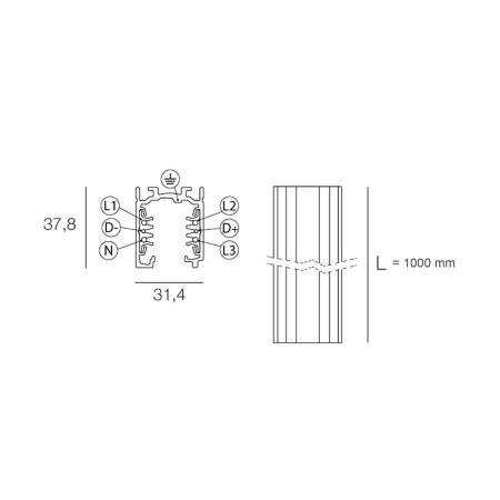 Targetti Binario elettrificato per istallazione faretti o proiettori - Binario 1 mt bianco 9000-1/w-st