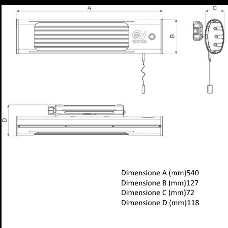 Vortice 3 lampade a raggi infrarossi 600 W - Thermologika - 70015