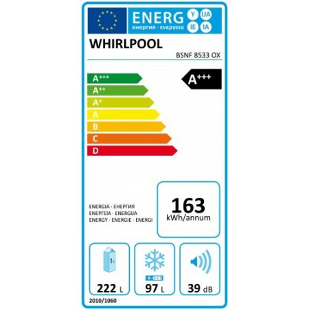 Whirlpool Frigo combinato 2 porteno frost-ventilato - Bsnf8533ox