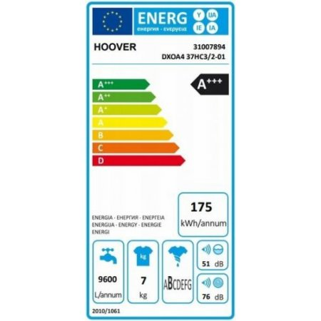 Zerowatt Lavatrice carica frontale 7 kg. - hoover - Dxoa4 37hc3/1-01